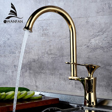 Ktichen Faucet Luxury Golden Brass High Arch Kitchen Sink Faucets Single Handle Swivel Spout Wash Basin