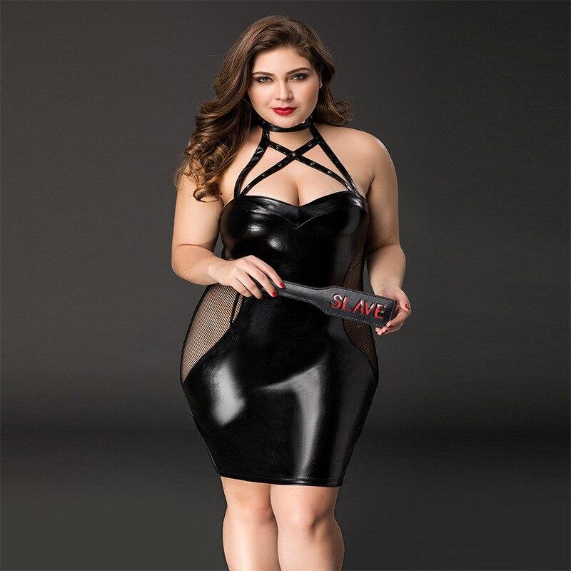 Women Plus Size Lingerie Babydoll Sleepwear Sexy Hot Erotic PU Leather Underwear Nightwear Sexy Porno Lingerie Babydoll Costume