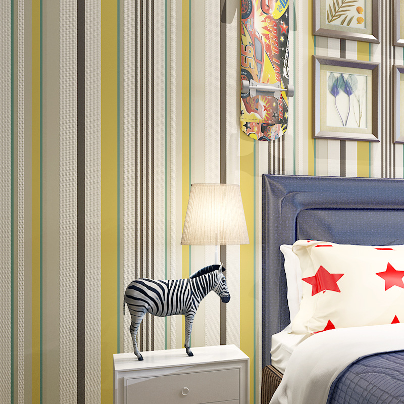 ФОТО beibehang 3D Stereo non - woven high - grade vertical striped  simple wide striped bedroom living room rainbow green wallpaper