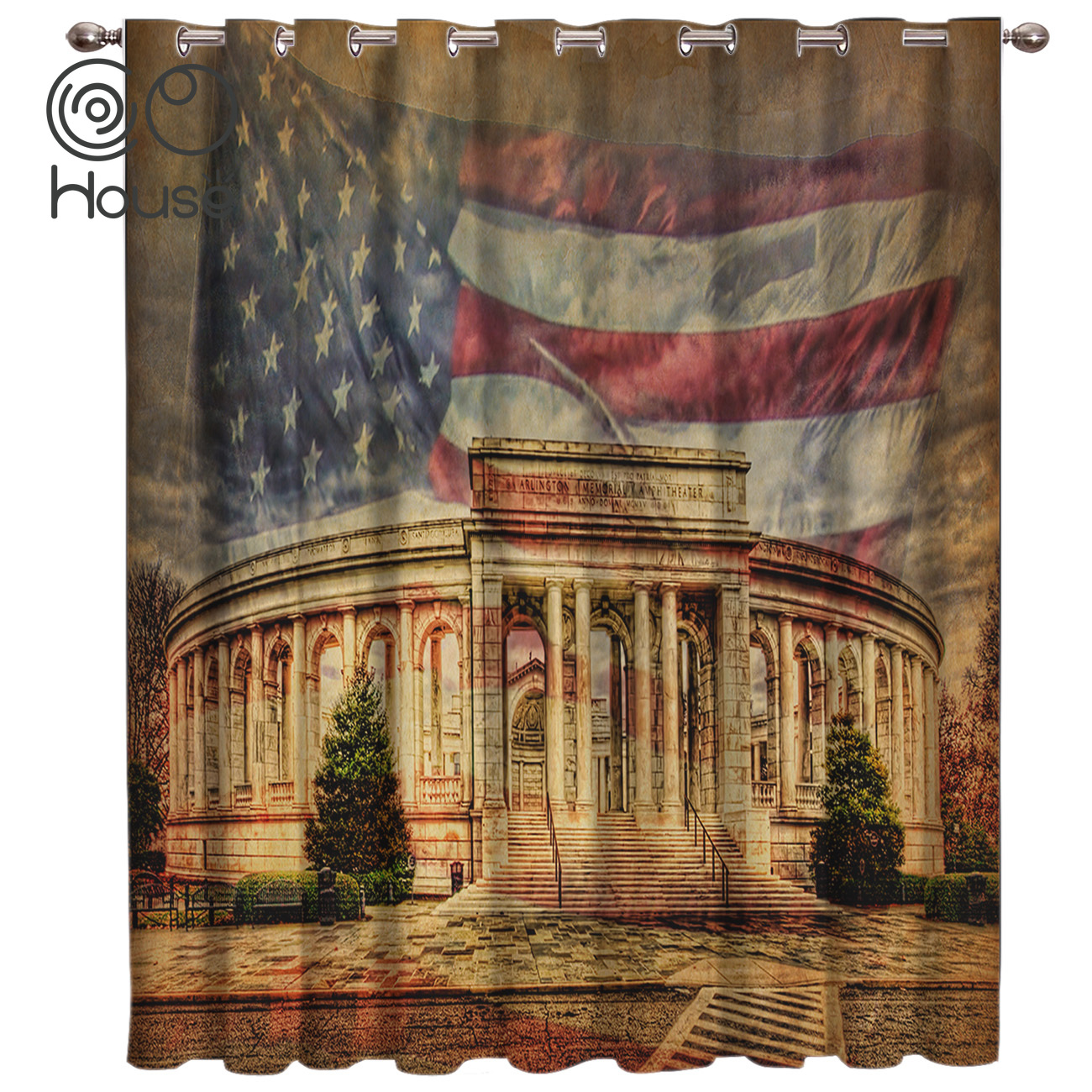 COCOHouse American Flag Window Curtains Dark Window Blinds Living Room Blackout Bathroom Kitchen Outdoor Kids Curtain Panels