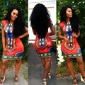 AG 9 Fairy Store 2016 Hot Selling   Women Traditional African Print Dashiki Bodycon Sexy Short Sleeve Dress