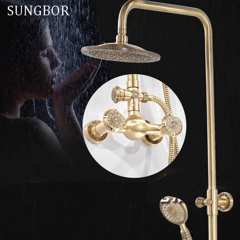 Antique Brass Wall Mount Rain Fall Bathroom Shower Faucet 8 Inch Shower Head Arm Shower Set Mixer With Handy Unit Tap HS-8840F kemaidi new modern wall mount shower faucet mixer tap w rain shower head