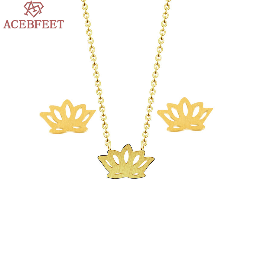 ACEBFEET Faith Jewelry Religious Necklace Lotus Earring Stainless Steel Chain Silver Gold Holy Schmuck Frau Earrings 2018