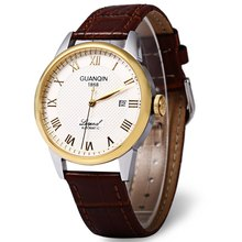 GUANQIN GQ008815 Sapphire Mirror Men Genuine Leather Mechanical Watch Luxury Business Waterproof 100m Wristwatches
