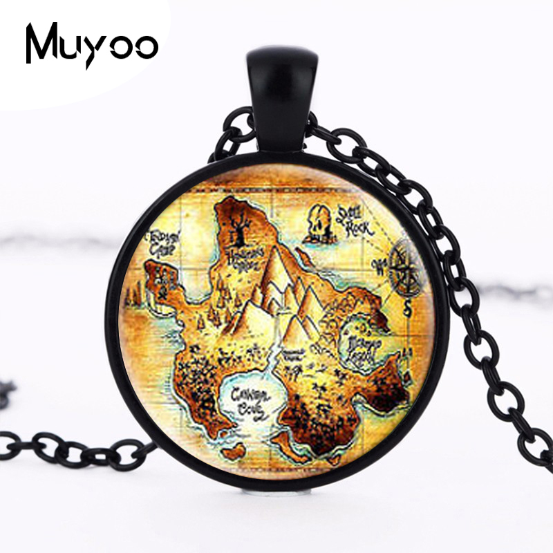 Steampunk US Movie Peter Pan Neverland map Pendant Necklace 1pcs/lot Glass mens handmade jewelry dr who chain cosplay locket HZ1