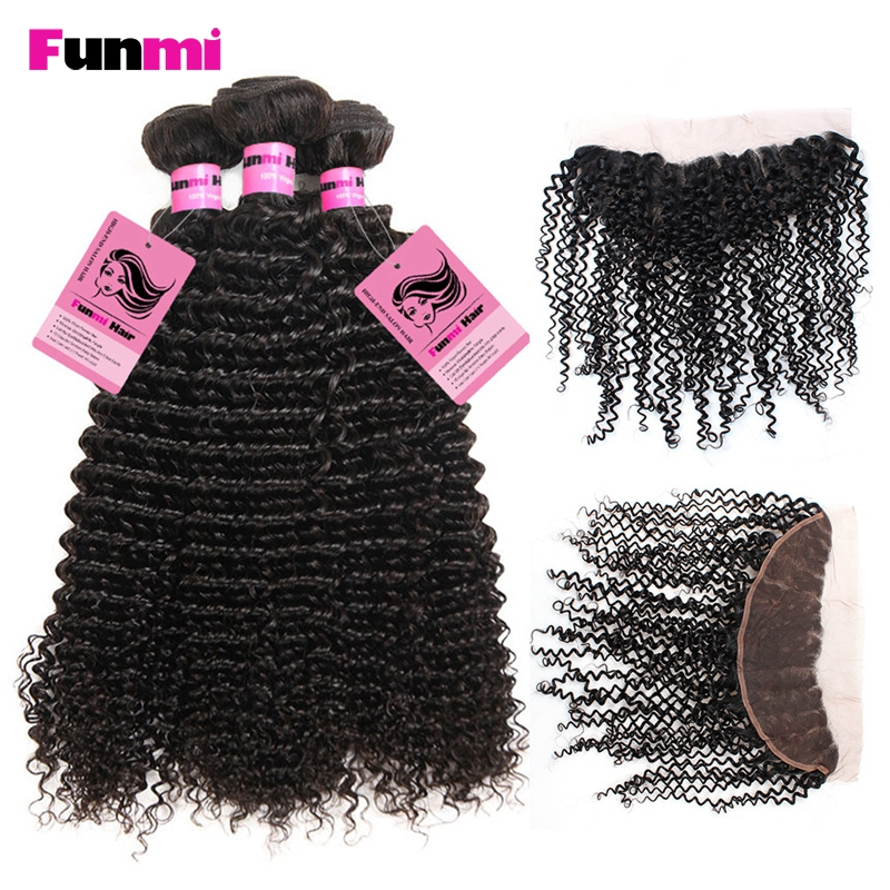 Funmi Brazilian Bundle With Frontal Kinky Curly Human Hair 3 Bundles 100% Virgin Hair With Frontal Tangle Free No Shedding