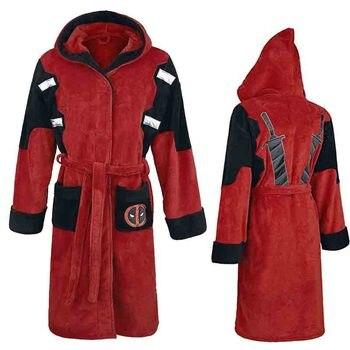 Deadpool Morgenmantel Bademantel Cosplay Kostüm Wade Winston Wilson Winter Mit Kapuze Knie-Länge Bad Robe Dressing Plus Größe