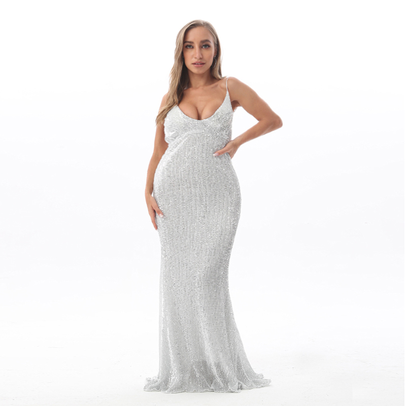 Oversize XL XXL Stretch Silver Sequined Maxi Dress Open Back Floor Length Evening Party Dress Padded