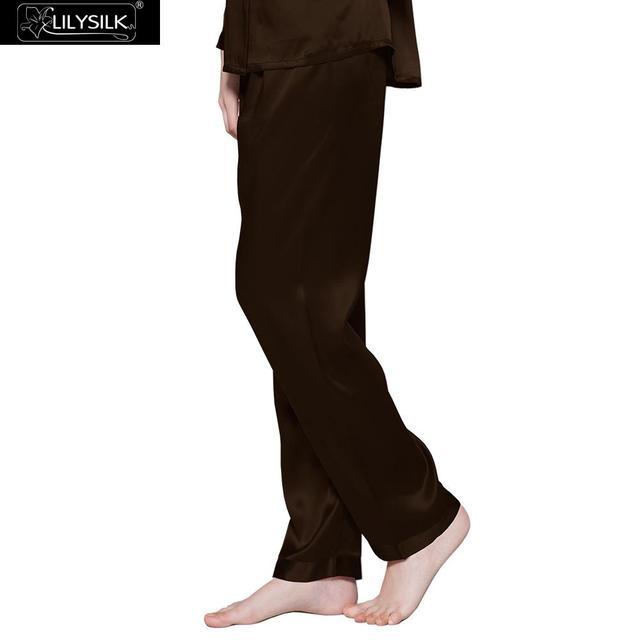 Pantalones 19 Momme Lilysilk 100% Pijama De Seda de Las Mujeres ropa de Dormir L de Chocolate Envío Gratis