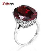 SzjinAo Princess Diana January Birthstone Garnet rings handmade 925 silver jewelry punk oval shape art deco for women party