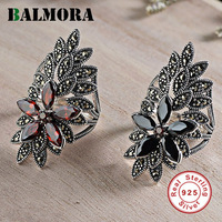 BALMORA 925 Sterling Silver Leaf & Flower Mosaic Resizable Rings for Women Gift Thai Silver Vintage Fashion Jewelry SLS20178