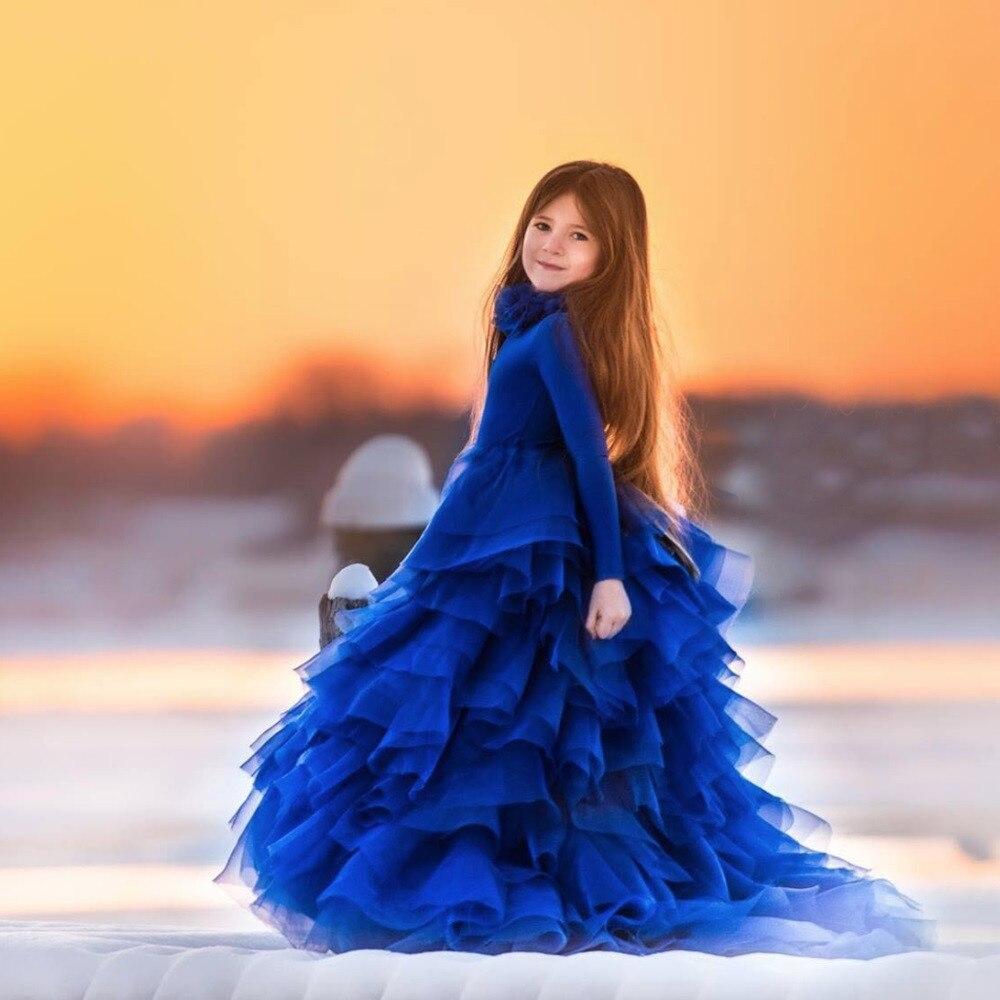 Royal Blue 2018   Flower     Girl     Dresses   For Weddings Ball Gown Tulle Tiered Long First Communion   Dresses   For Little   Girls