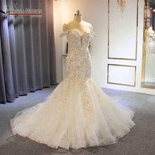 Off the shoulder straps africa mermaid wedding dress bridal dress fishtail