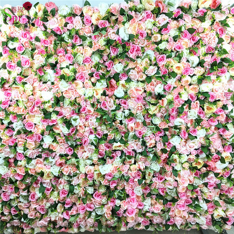SPR 10pcs/lot Artificial silk rose flower wall with green wedding backdrop arrangement decoration flower wedding centerpiece