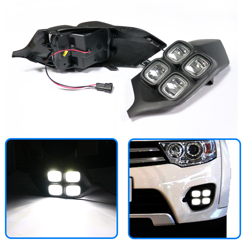 100% Quality 2pcs Super Bright Daytime Running Light Drl Lamp For Mitsubishi Pajero Sport 2015 2016 4 Eyes Abs+led 12v Led Car Accessories Drip-Dry