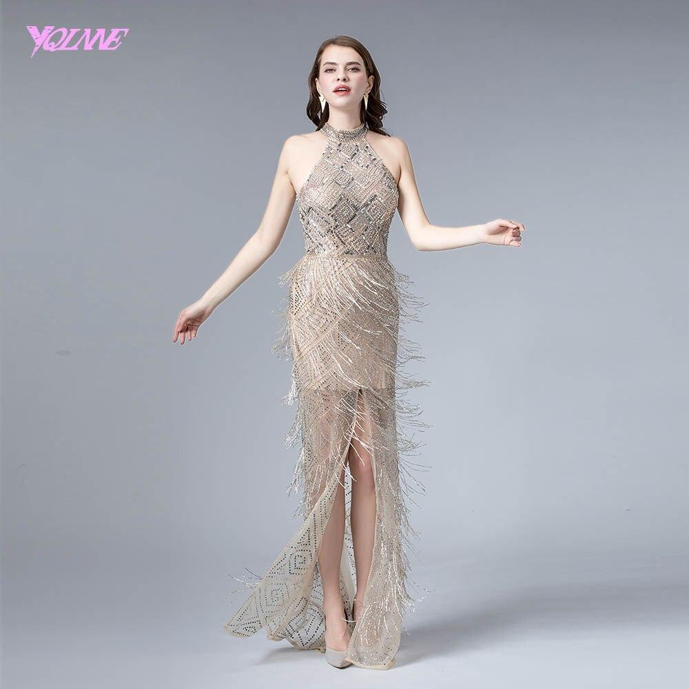 セクシーなヌードスリットイブニングドレス 2019 ホルタークリスタルフォーマルイブニングページェントドレス YQLNNE  グループ上の ウェディング & イベント からの イブニングドレス の中 1