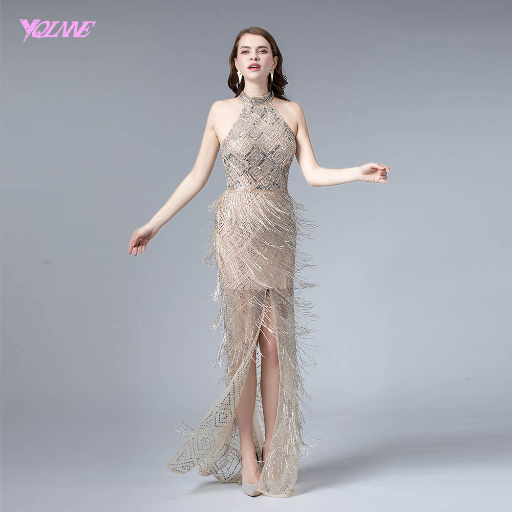 Sexy Nude Slit Evening Dress 2019 Halter Crystals Formal Evening Gown Pageant Dresses YQLNNE