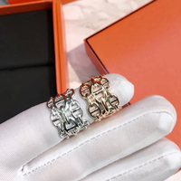 Hot Brand Pure 925 Sterling Silver Jewelry For Women Men Letter Round H Lock Jewelry Silver Ring Set France Quality