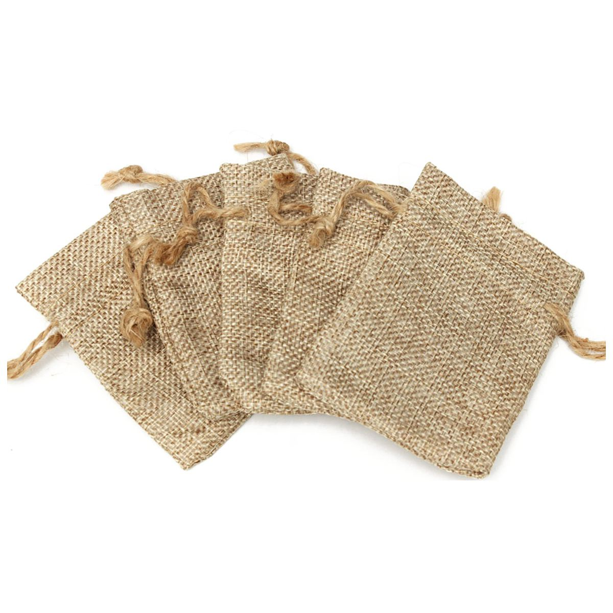 20PCS Linen Jewellery Drawstring Pouch Ring Beads Mini Candy Bags Burlap Gift