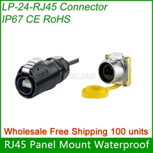Free Shipping Wholesale 100 units Assembly RJ45 Connector CAT5E Female Jack with Cover Waterproof RJ45 plug Cnlinko screw lock