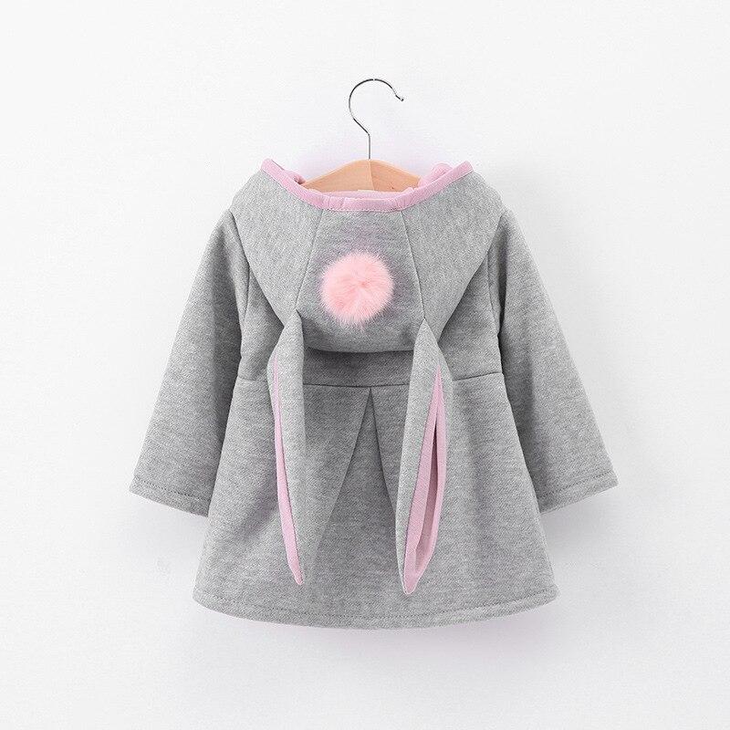 Girls new children's clothing girls wild spring and autumn cute rabbit ears hooded shirt sweater children baby jacket