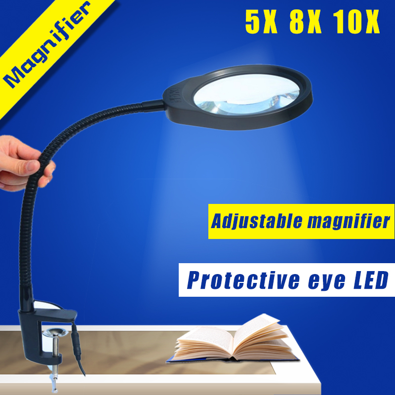 Hands-free Loupe Flexible Magnifying Glass with Light Versatile 2 in 1 Lighted Magnifier Desk Lamp 8X 10X Adjustable LED light