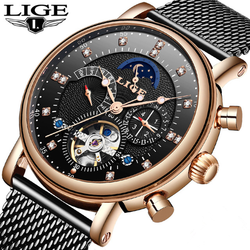 2019 Top Brand LIGE New Fashion Mens Mechanical Watches Automatic Tourbillon Skeleton Watch intact Calendar Relogio Masculino