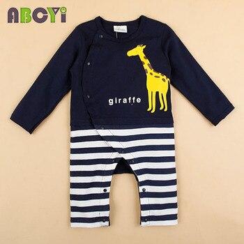 100% Cotton Baby rompers legged long sleeves baby clothing newborn cartoon Elephan Giraffe baby boy clothes girls roupas bebes 4