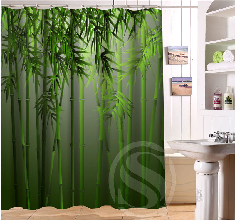 Bamboo Print Shower Curtain - Home Design Ideas and Pictures