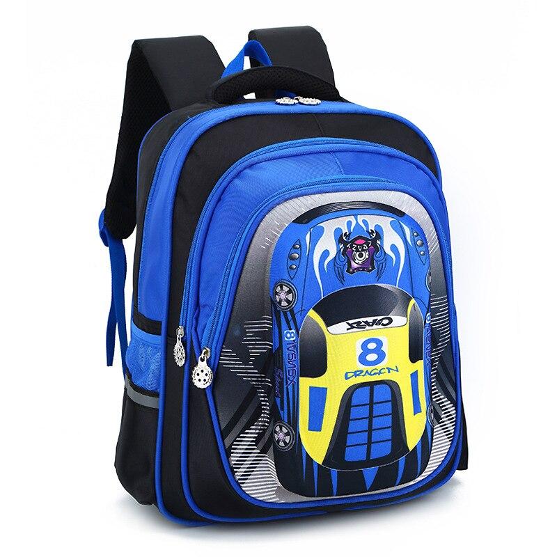 Дети мультфильм 3D автомобиль школьные сумки мальчики девочки начальной школы рюкзак дети детский сад рюкзак ранцы Mochila Infantil