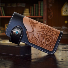 HK OLG.YAT handmade wallet mens purse womens bag two hours Italian Vegetable tanned leather wallets long hasp handbags Retro