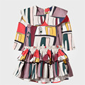 Красивые Девушки Паффи Раффлед Платье Новый Шаблон Дизайна Девушки Танцуют Платья Геометрия Печать Очаровательны Toldders Девушки Мини-платье