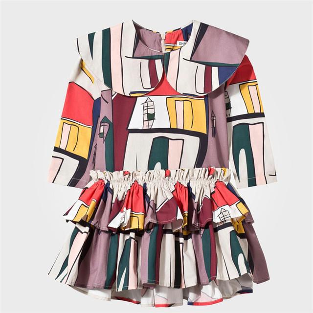 Pretty Girls Puffy Ruffled Vestido Novo Padrão Projetos Meninas Dançando Vestidos de Estampas Geométricas Adorável Toldders Meninas Mini-vestido