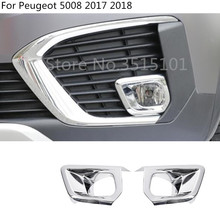 car body front fog light lamp detector frame stick styling ABS Chrome cover trim 2pcs For Peugeot 5008 2017 2018 цена 2017