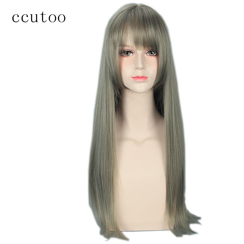 Synthetic Wigs Ccutoo Womens Synthetic Hair Straight Grey Long Harajuku Cosplay Costume Wig Synthetic None-lacewigs