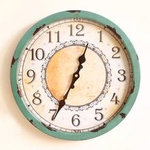 Fashion vintage decoration wall clock zakka rustic wrought iron clocks circle clock