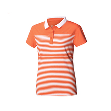 Summer Casual Golf Wear Women's Short Sleeve Stripe T-shirts Ladies Knitted Polo Shirts Breathable Elastic Summer Sportswear