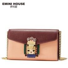 EMINI HOUSE Indian Style Women Messager Bag Original Chain Bag Split Leather Fashion Mini Shoulder Crossbody