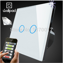 ЕС Wallpad Белый СВЕТОДИОД 2 Банды Кристалл GlassTouch Wi-Fi Выключатель Света, Беспроводной Пульт Дистанционного управления настенный сенсорный выключатель света, бесплатная Доставка