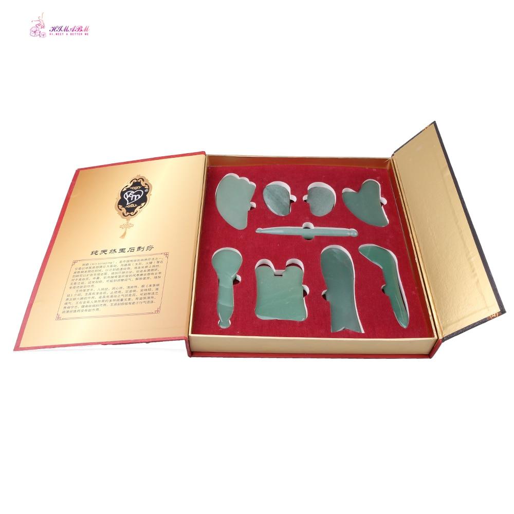 Various shape function green aventurine or rose quartz guasha tool set with retail box