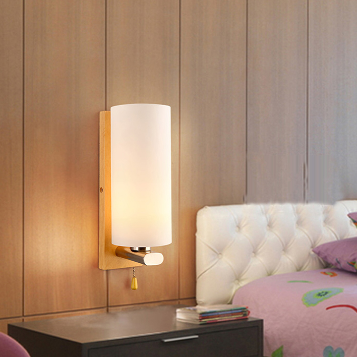led 27 Nordic Wooden Glass Candle LED Lamp LED Light Wall lamp Wall Light Wall Sconce For Bar Store Foyer Bedroom Corridor Lobby led e14 american iron fabric led lamp led light wall lamp wall light for bar store foyer bedroom corridor lobby