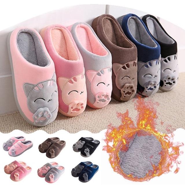 Women Winter Home Slippers Cartoon Cat Non-slip Warm Indoors Bedroom Floor Shoes Plush Slippers Women Faux Fur Slides Flip Flops