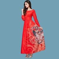 اللباس الجديد 2017 الأزياء اليومية الربيع أنيقة مائل طوق طويلة الأكمام فينيكس مطبوعة الأحمر فستان طويل زائد الحجم xxxxl