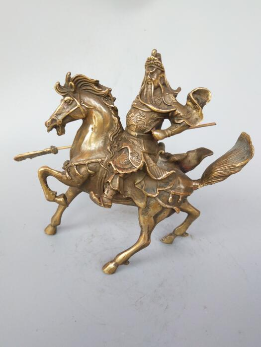 Chinese brass riding Guan Gong statueChinese brass riding Guan Gong statue