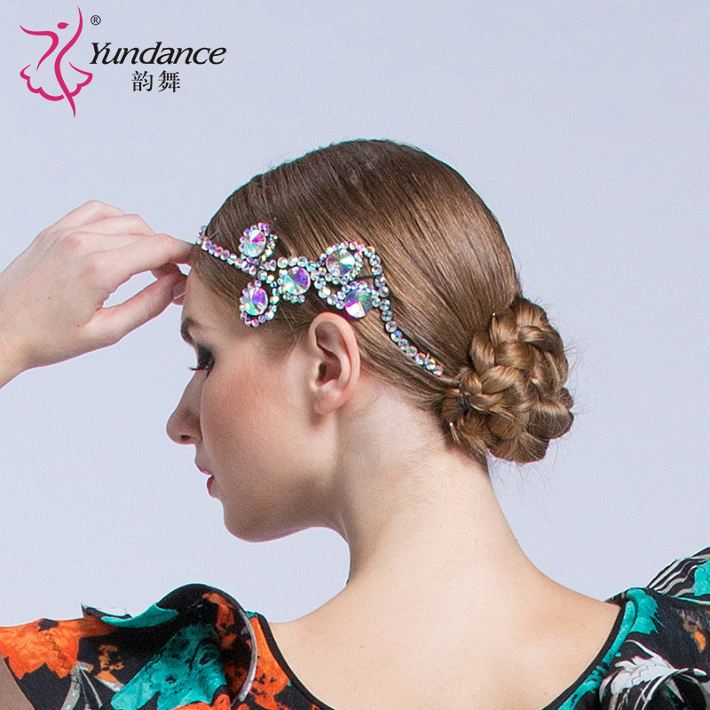Lady New Dance Headwear Female Waltz Dance Headdress Girls National Flower Latin Competition Diamond-encrusted Accessories B6583