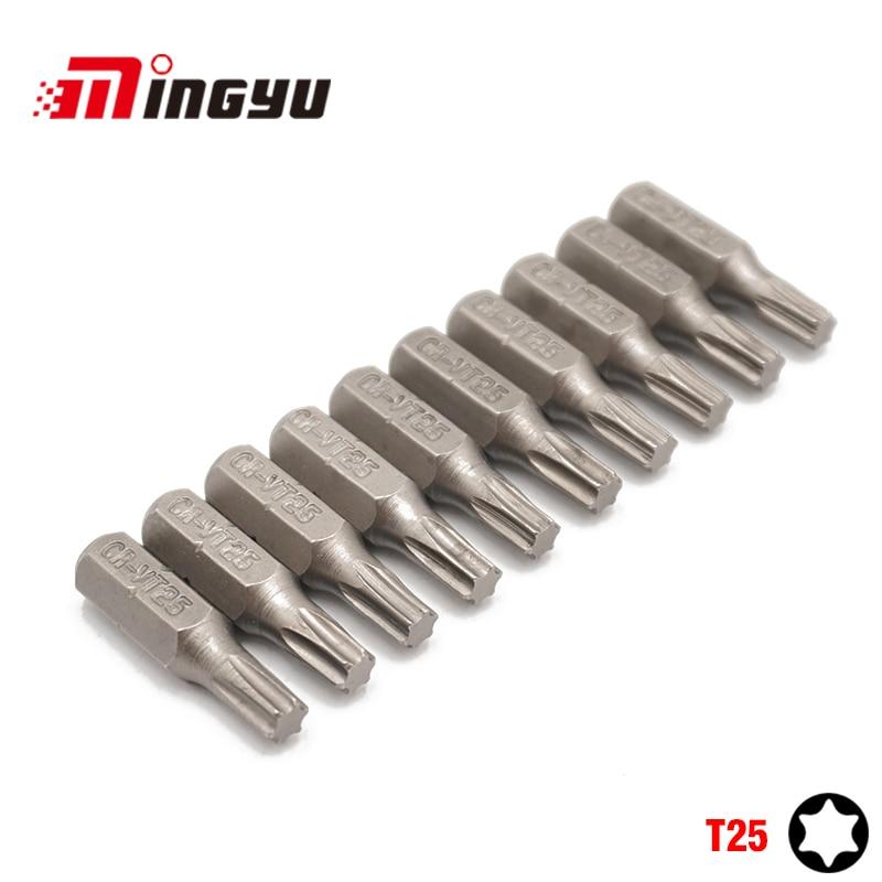 Набор отверток Torx T25, 10 шт., 1/4 дюйма, 25 мм, инструменты для ремонта, Набор отверток, набор сверл с шестигранным хвостовиком для электроинструм...