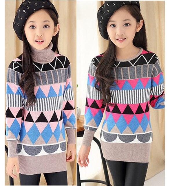 Big Girl Turtlenecks Pullover knitted Teenage children sweaters Kids sweater for Teen girls children's clothes pull enfant fille