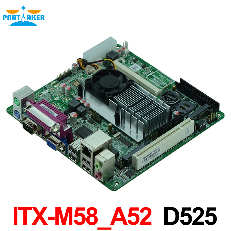 Atom D525 ITX-Motherboard Single 18bit LVDS POS Machine Industrial Motherboards ITX-M58_A52 industrial pos mini itx motherboard atom n450 1 8g dual core four threads pos motherboard