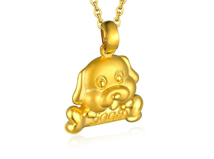New  Pure 24K Yellow Gold Zodiac Dog Pendant Good Luck 3D designer pendant