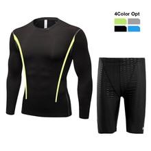 Men Boy Swim Top T Shirt Trunks Boxers Shorts Swimwear Short Pants SwimSuit Swimming Wear Long Sleeves for Beach Spa Pool Tvfd